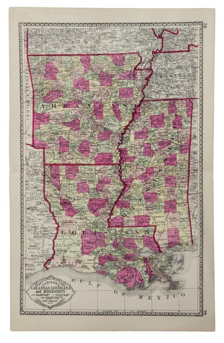 TUNISONS MAP ARKANSAS, LOUISIANA, FLORIDA, GEORGIA