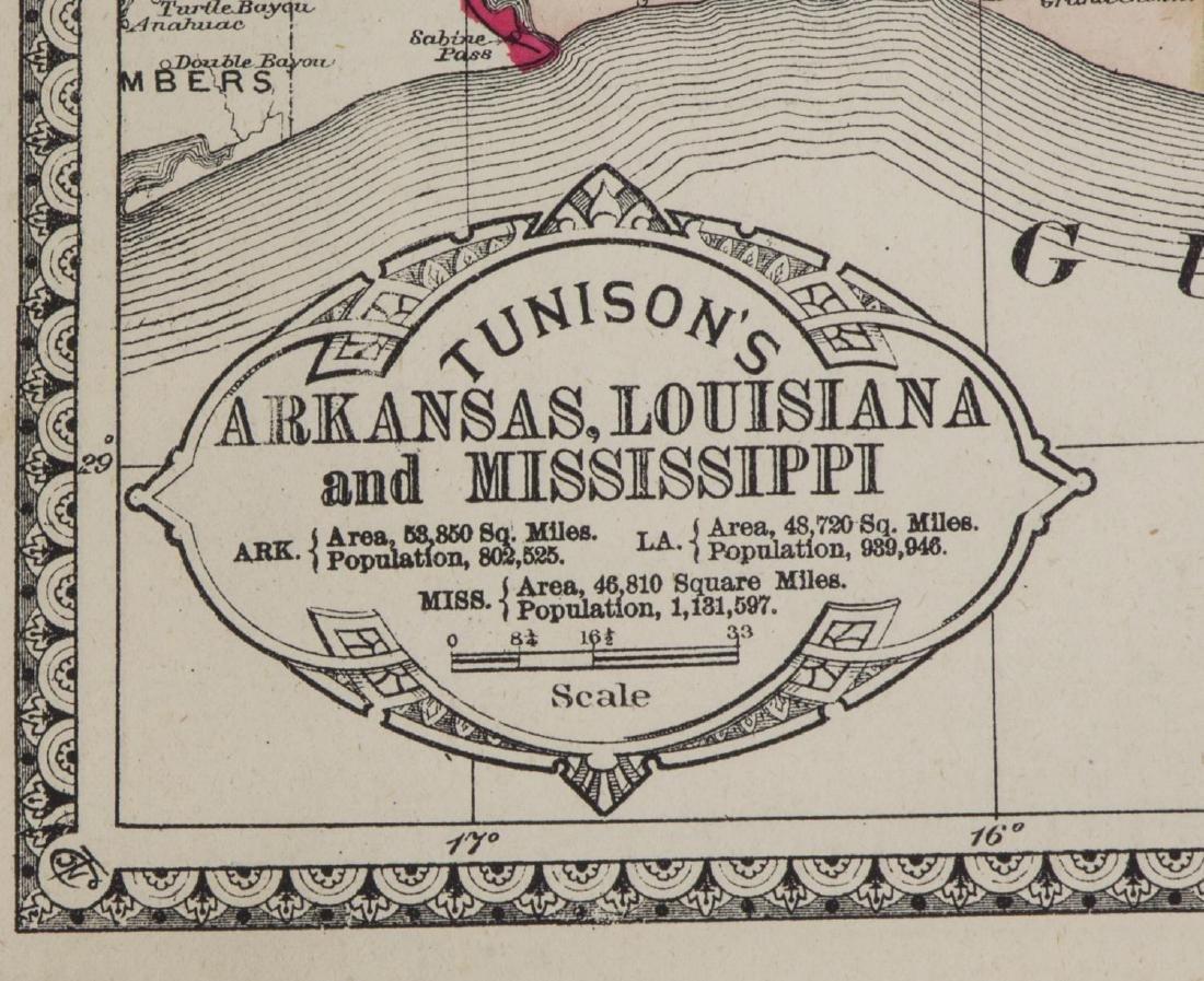 TUNISONS MAP ARKANSAS, LOUISIANA, FLORIDA, GEORGIA - 2