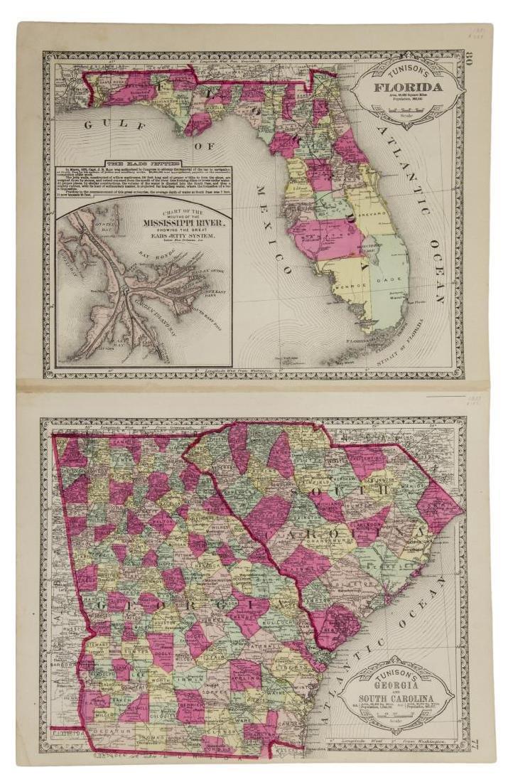 TUNISONS MAP ARKANSAS, LOUISIANA, FLORIDA, GEORGIA - 4