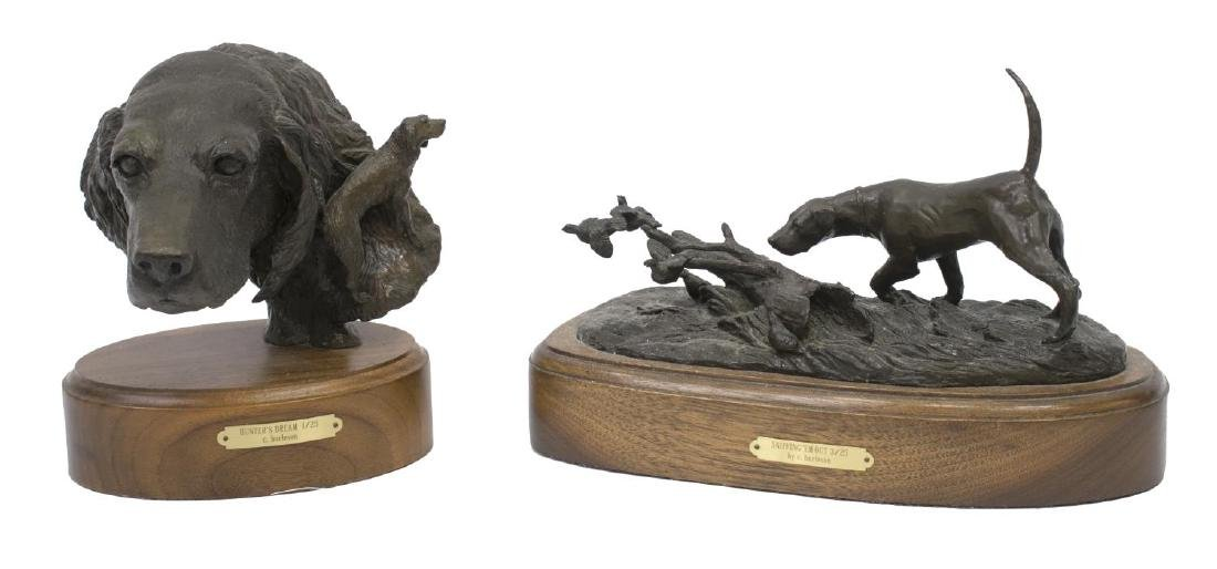 (2)CINDY BURLESON HUNTING DOG BRONZE SCULPTURES