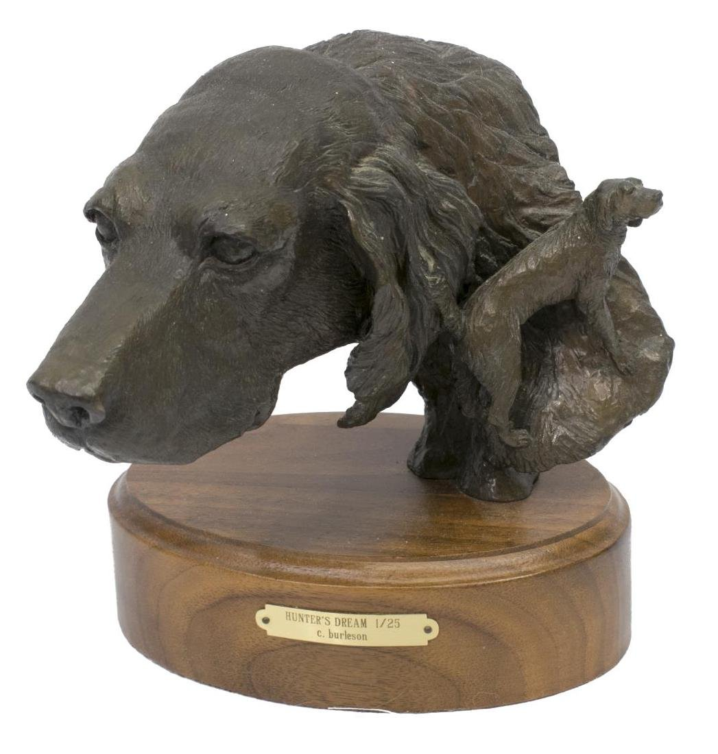 (2)CINDY BURLESON HUNTING DOG BRONZE SCULPTURES - 2
