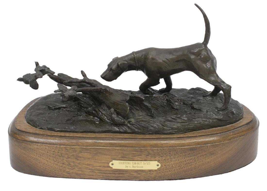 (2)CINDY BURLESON HUNTING DOG BRONZE SCULPTURES - 3
