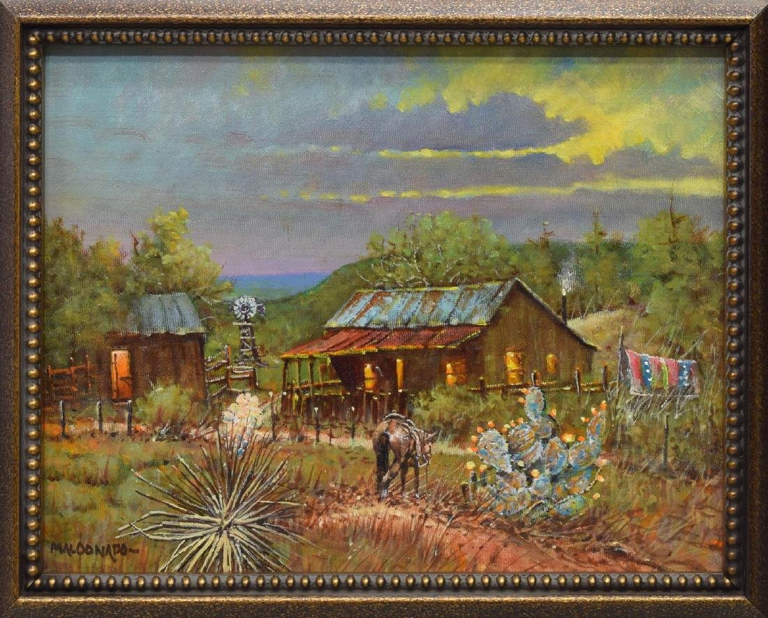 (2) DANIEL MALDONADO (TEXAS) WESTERN OIL PAINTINGS - 5