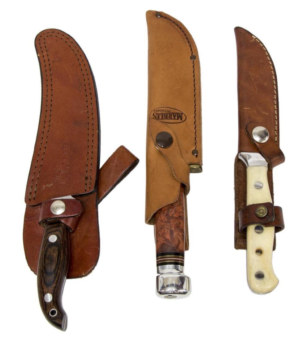(3) FIXED BLADE KNIVES, BOKER MARBLES, LAKOTA - 2
