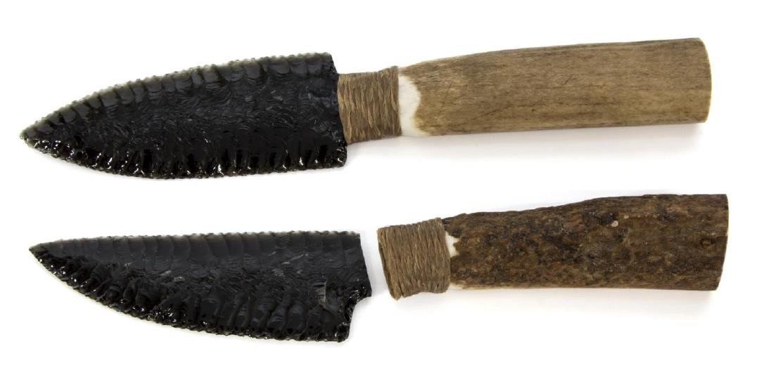 (2) OBSIDIAN BLADE KNIVES, STAG HANDLES