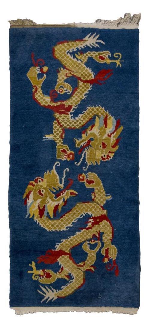 "TIBETAN WOOL RUG WITH DRAGONS, 2'9"" x 4'9"""