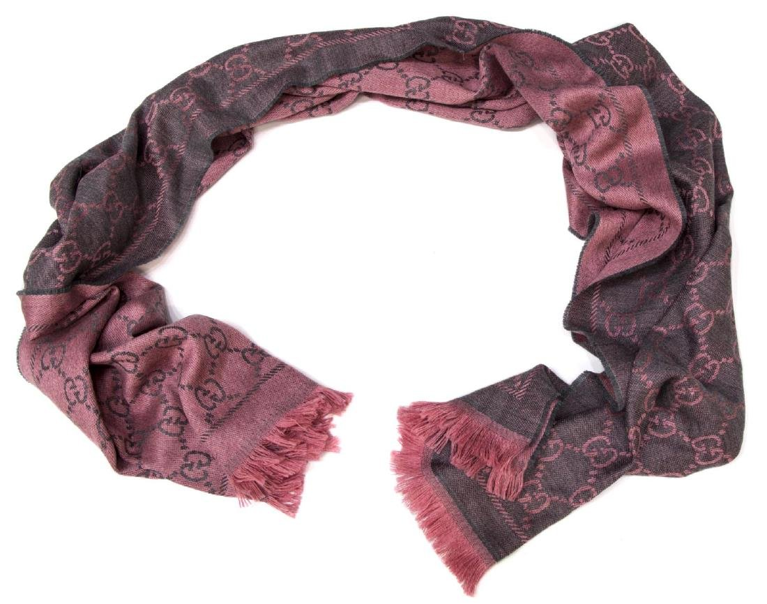 GUCCI GRAPHITE/PINK WOOL SCARF /WRAP, NEW W/ TAGS