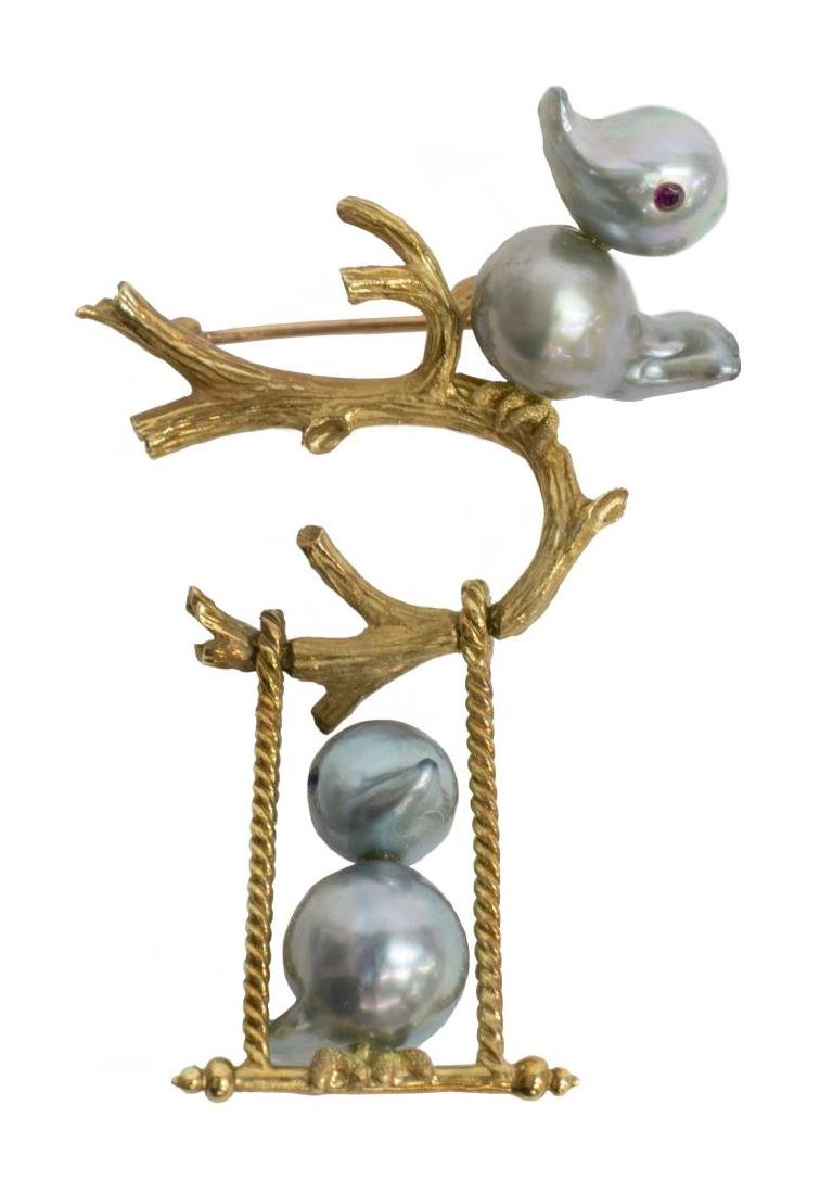 VINTAGE ESTATE 18KT GOLD & PEARL SWINGING BIRD PIN - 2