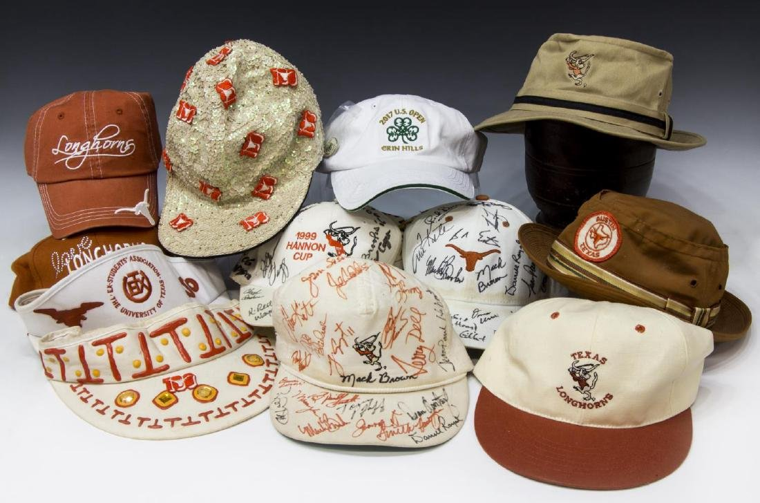 TEXAS LONGHORNS CAPS SIGNED, ROYAL, BROWN, SPEITH