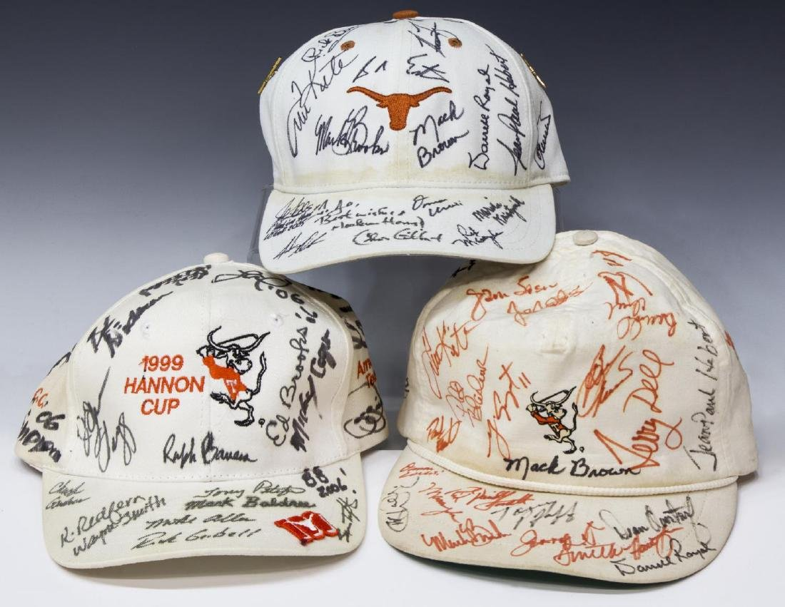 TEXAS LONGHORNS CAPS SIGNED, ROYAL, BROWN, SPEITH - 2