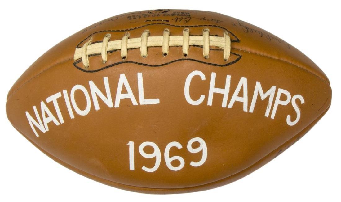TEXAS LONGHORNS SIGNED 1969 CHAMPS BALL, ROYAL