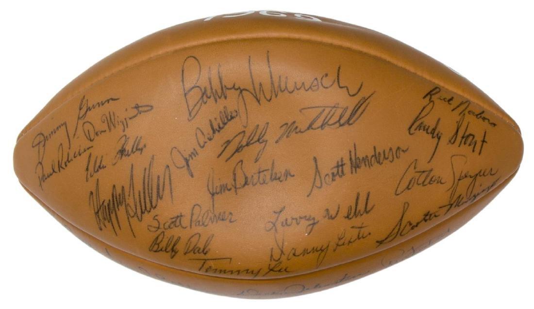 TEXAS LONGHORNS SIGNED 1969 CHAMPS BALL, ROYAL - 2