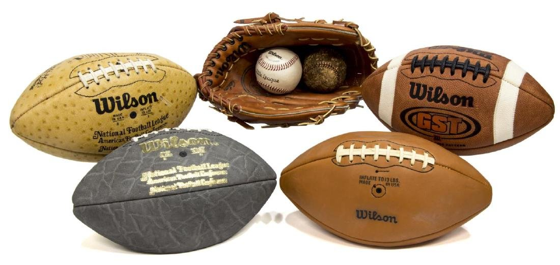 (7) LEATHER BASEBALL & FOOTBALL SPORTING EQUIPMENT