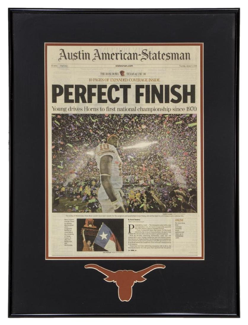 FRAMED U. OF TEXAS NATIONAL CHAMPIONSHIP NEWSPAPER