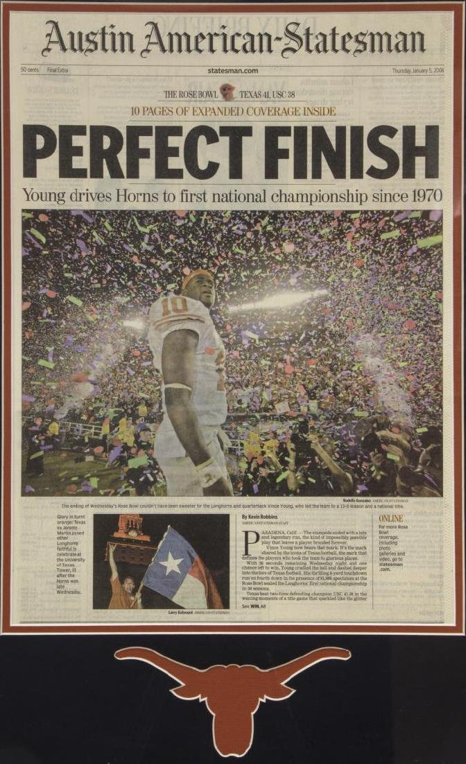 FRAMED U. OF TEXAS NATIONAL CHAMPIONSHIP NEWSPAPER - 2