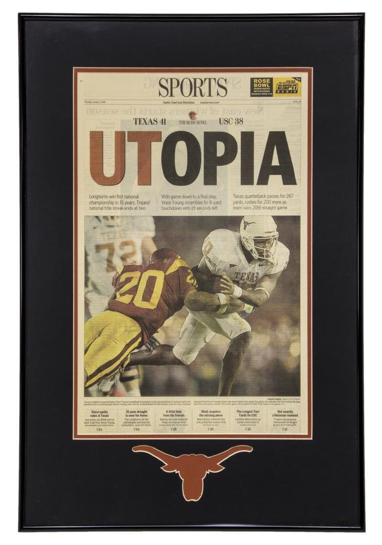 FRAMED NEWSPAPER LONGHORNS NATIONAL CHAMPIONSHIP
