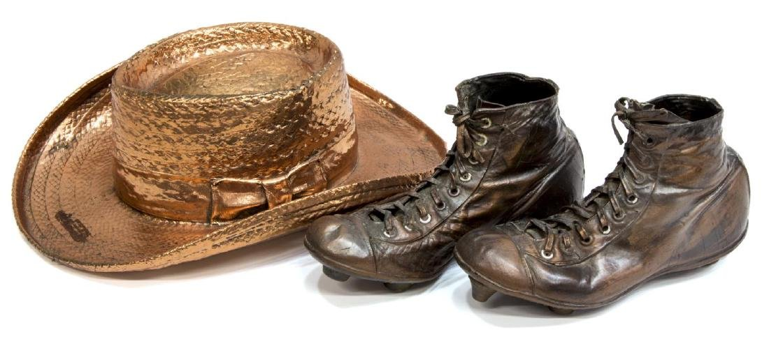 (2) BRONZED STRAW HAT & VINTAGE FOOTBALL CLEATS