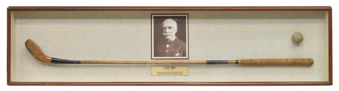 FRAMED JOHN REID (1840-1916) WOOD SHAFT GOLF CLUB