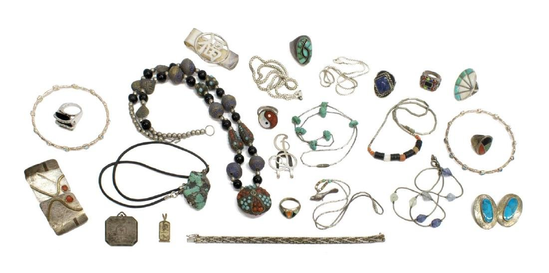 GROUP OF ESTATE STERLING & METAL JEWELRY