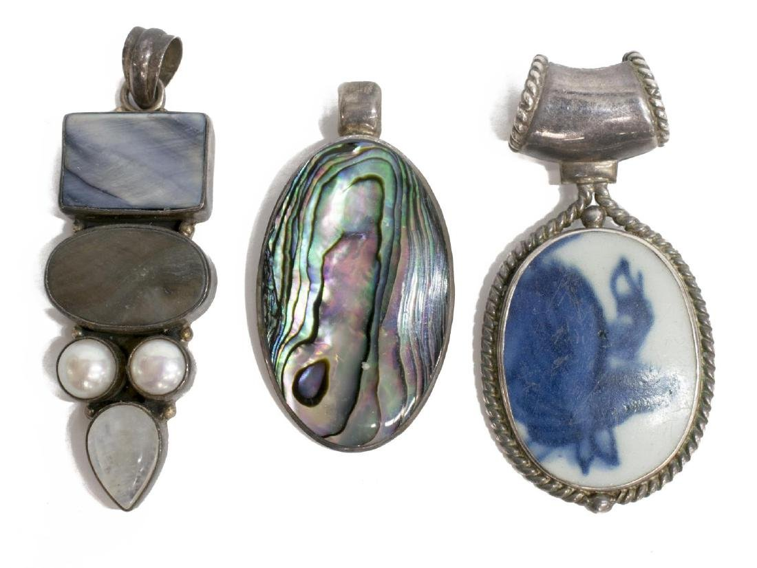 (6) GROUP STERLING FRAMED STONE & OTHER PENDANTS - 4