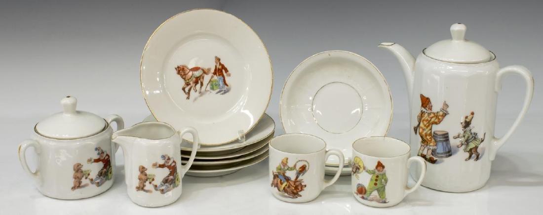 (12) GERMAN PORCELAIN CHILD'S CIRCUS TOY TEA SET