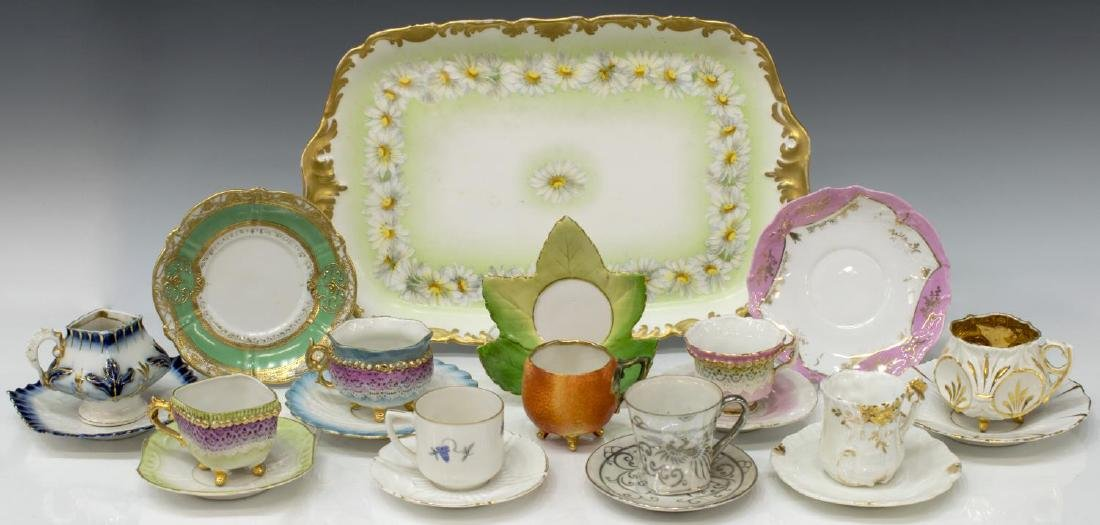 (21) GROUP OF FRENCH LIMOGES PORCELAIN TABLE ITEMS