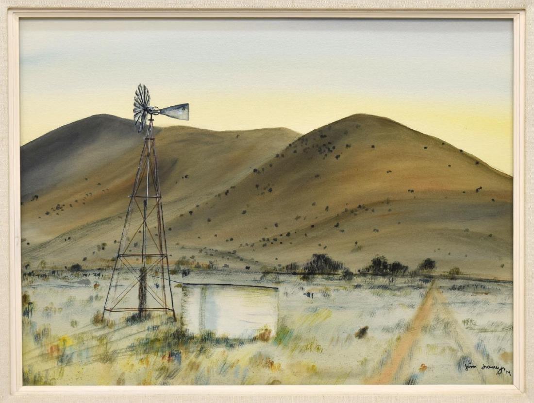 JIM LOWREY (NEW MEXICO, 20TH C.) WINDMILL & HILLS
