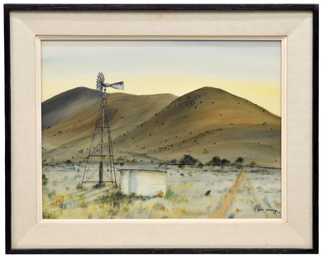 JIM LOWREY (NEW MEXICO, 20TH C.) WINDMILL & HILLS - 2