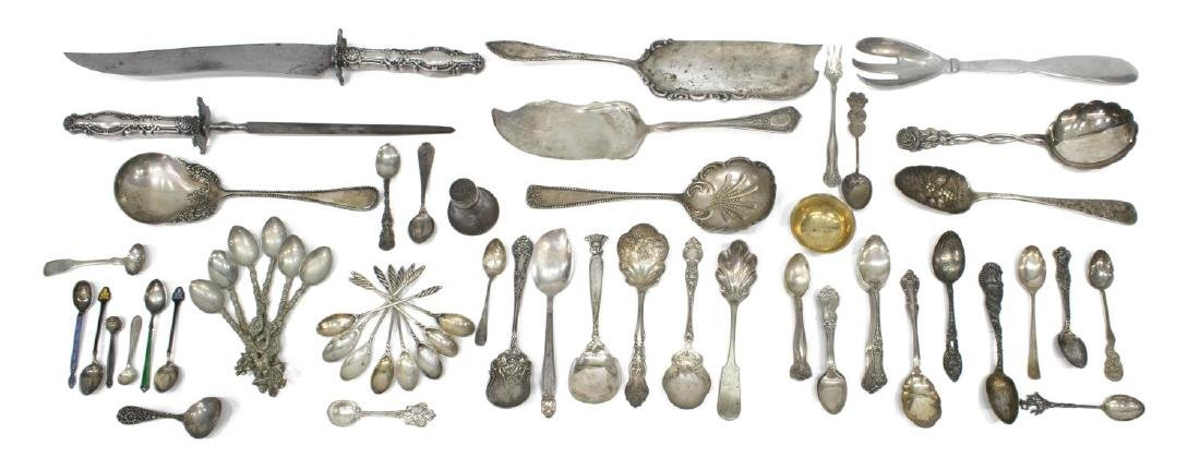 (LOT) STERLING & SILVER PLATE FLATWARE GROUPING