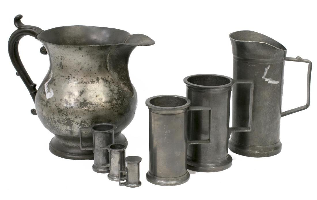 (7) COLLECTION OF ANTIQUE PEWTER TABLE & DRINKWARE