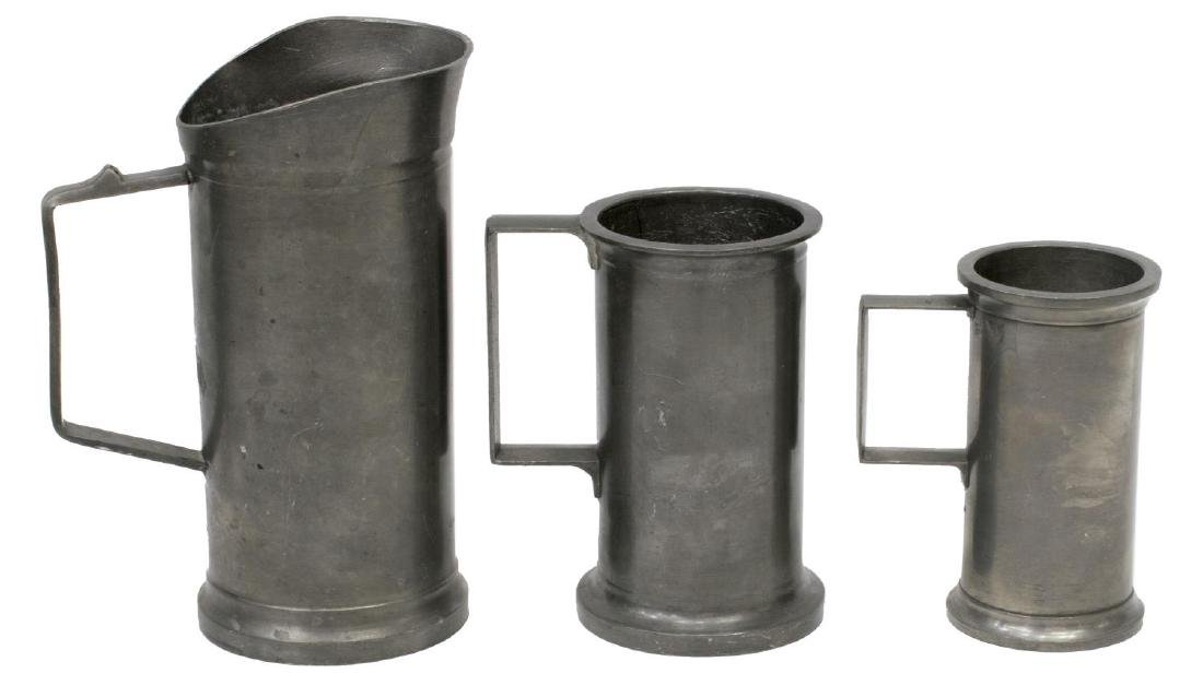 (7) COLLECTION OF ANTIQUE PEWTER TABLE & DRINKWARE - 2