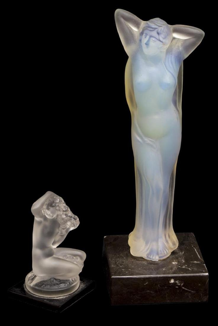(2) LALIQUE ART CRYSTAL & OPALESCENT GLASS NUDES