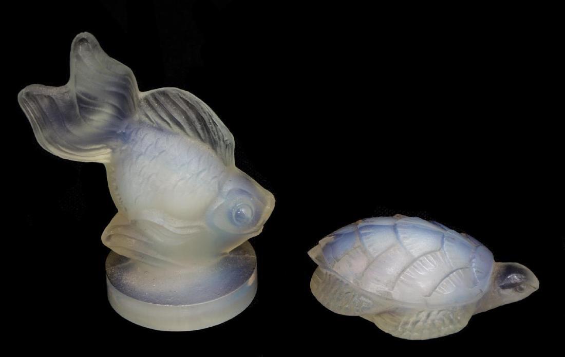 (5)SABINO OPALESCENT ART GLASS SHELL, FISH, SNAILS - 5