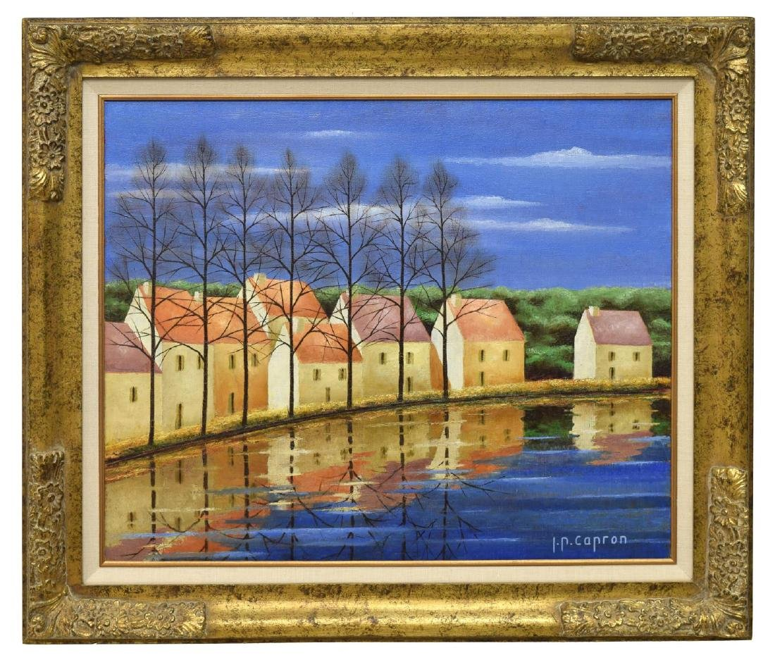 JEAN-PIERRE CAPRON (FRENCH) PAINTING, RIVER HOUSES - 2
