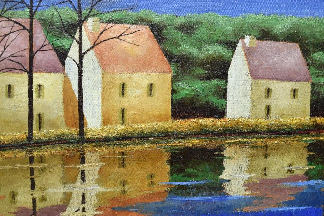JEAN-PIERRE CAPRON (FRENCH) PAINTING, RIVER HOUSES - 3