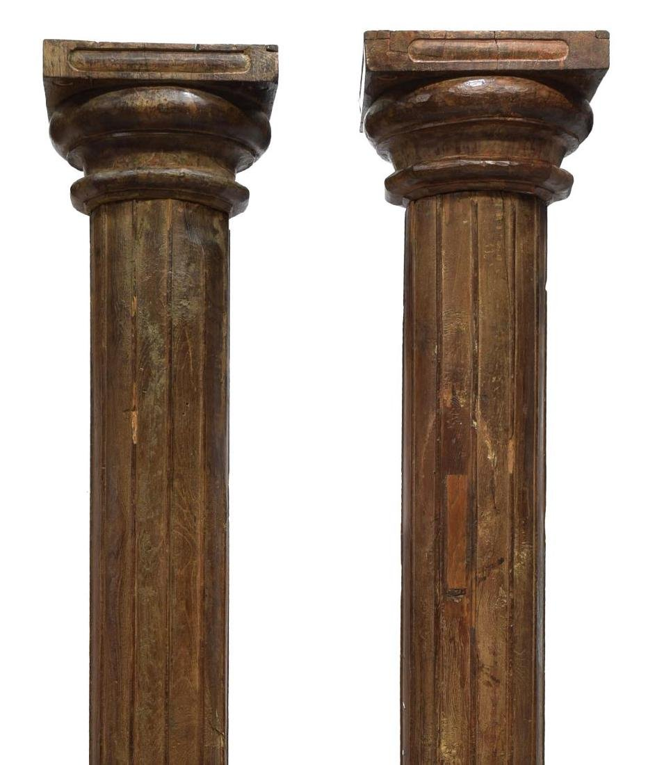 (2) ANGLO-INDIAN ARCHITECTURAL TEAKWOOD COLUMNS