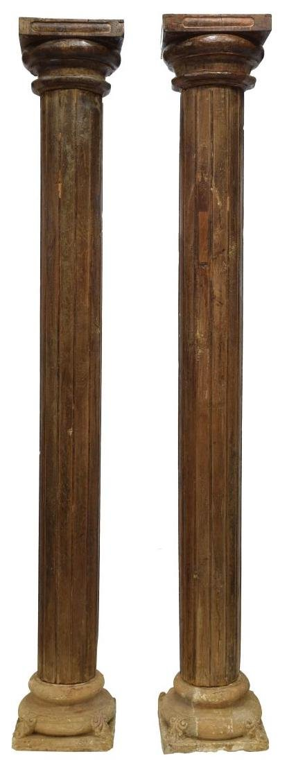 (2) ANGLO-INDIAN ARCHITECTURAL TEAKWOOD COLUMNS - 2