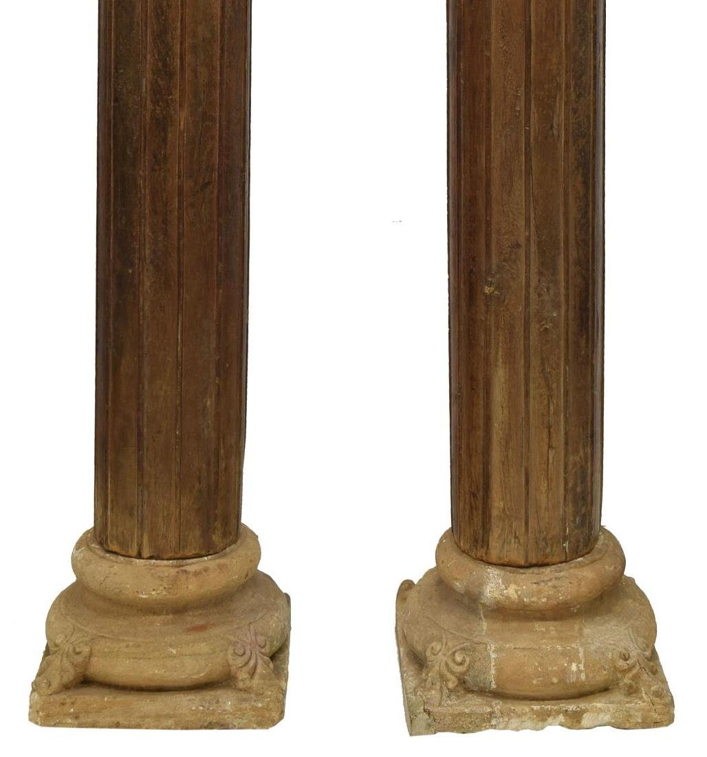(2) ANGLO-INDIAN ARCHITECTURAL TEAKWOOD COLUMNS - 3
