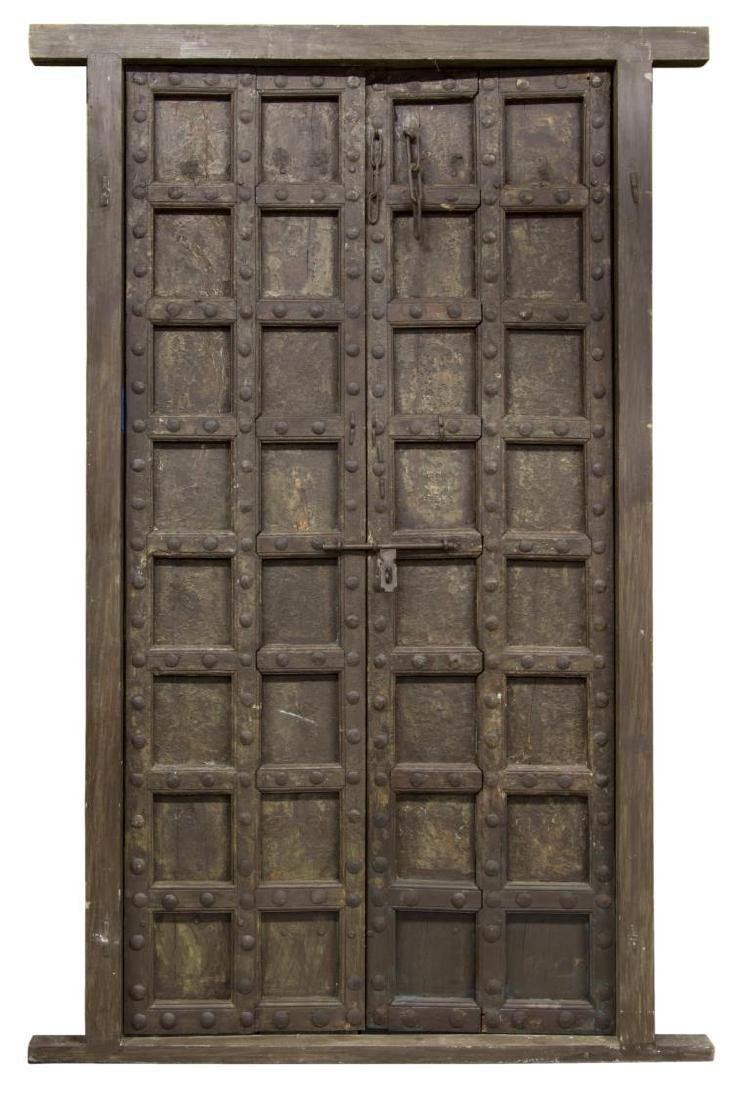 LARGE ARCHITECTURAL TEAKWOOD & IRON DOOR SET