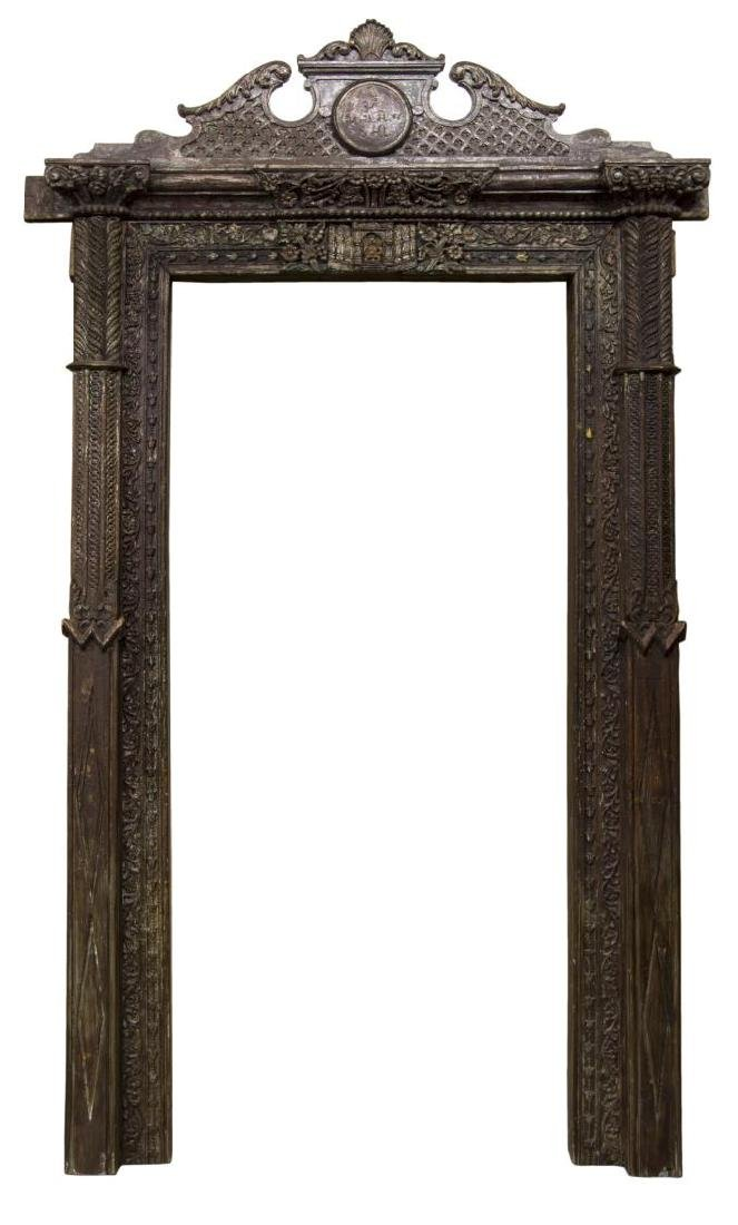 ARCHITECTURAL HIGHLY CARVED FOLIATE DOOR FRAME