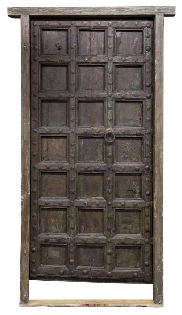 LARGE ARCHITECTURAL TEAKWOOD SINGLE DOOR & FRAME