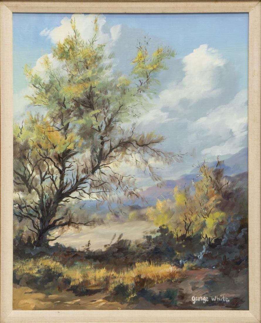 GEORGE WHITE PAINTING ON CANVAS, TREED LANDSCAPE
