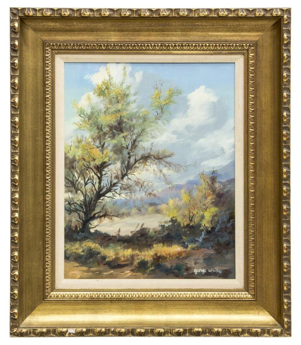 GEORGE WHITE PAINTING ON CANVAS, TREED LANDSCAPE - 2