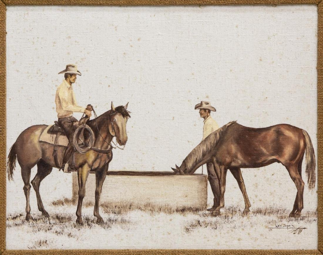 WES SPEIR (TEXAS 20THC) PAINTING, WESTERN COWBOYS