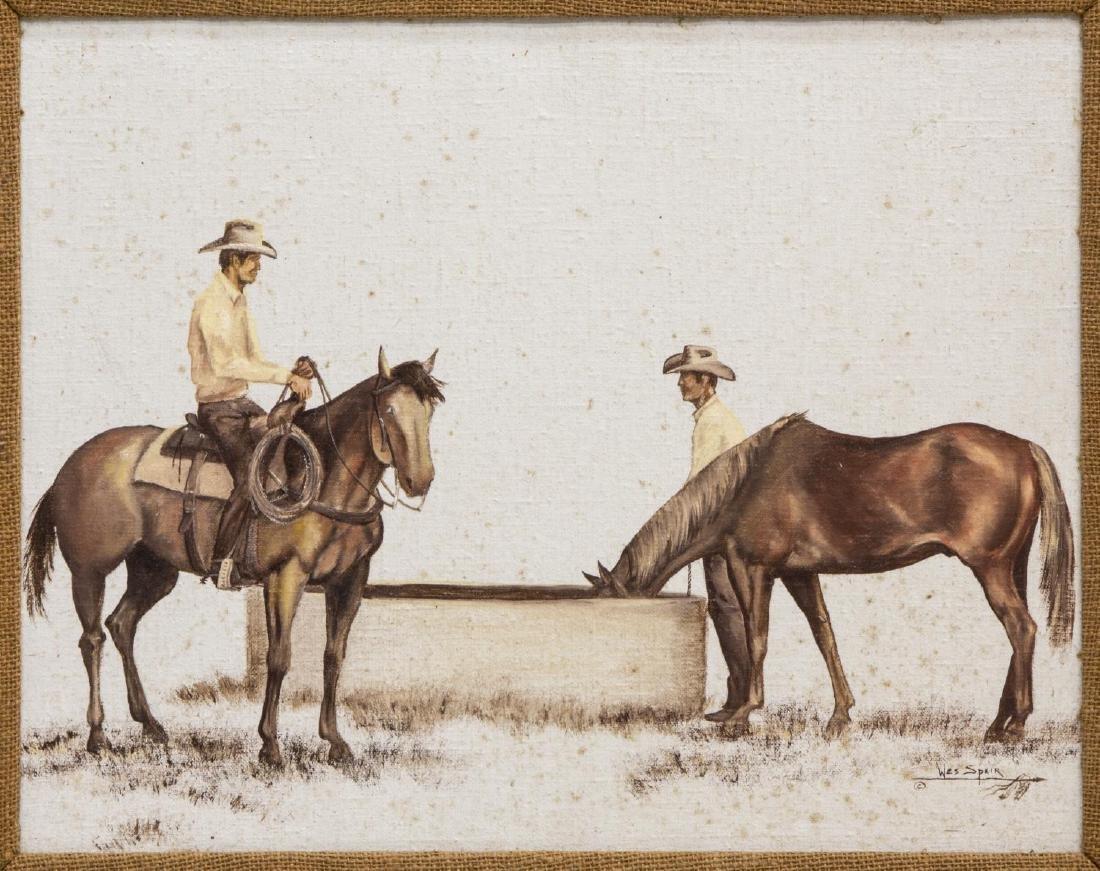 WES SPEIR (TEXAS 20THC) PAINTING, WESTERN COWBOYS