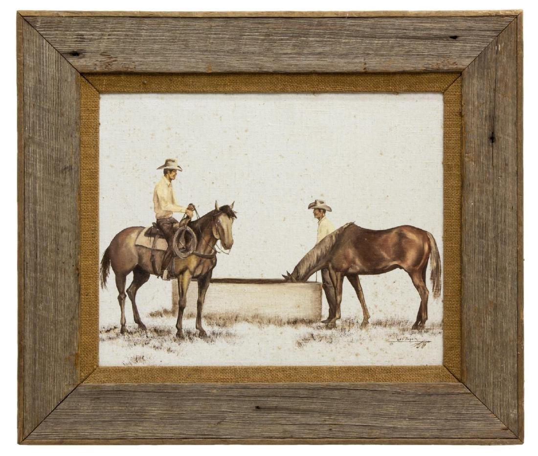 WES SPEIR (TEXAS 20THC) PAINTING, WESTERN COWBOYS - 2