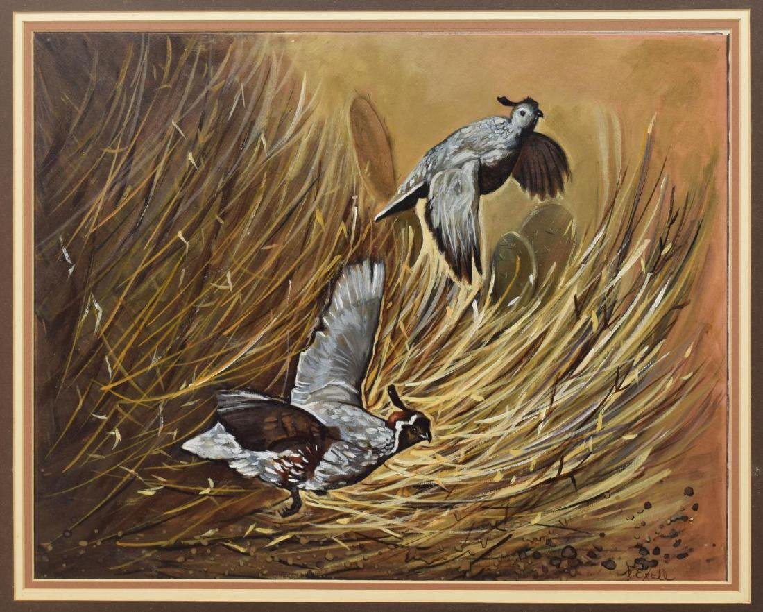 FRAMED SIGNED PAINTING ON BOARD, CALIFORNIA QUAIL