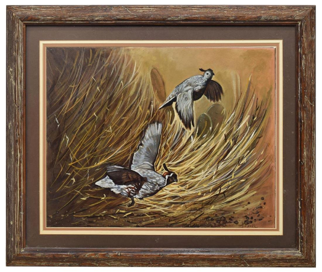 FRAMED SIGNED PAINTING ON BOARD, CALIFORNIA QUAIL - 2
