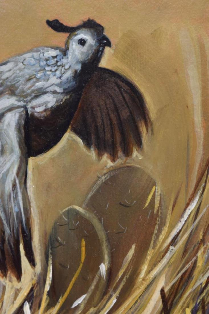 FRAMED SIGNED PAINTING ON BOARD, CALIFORNIA QUAIL - 3