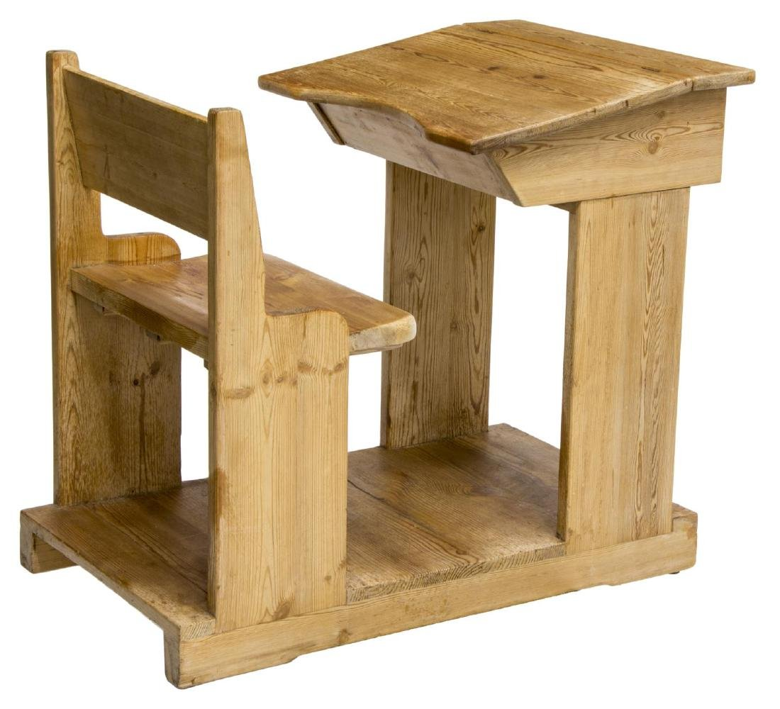 CHILD'S SCHOOL HOUSE PINE DESK AND CHAIR ON BASE